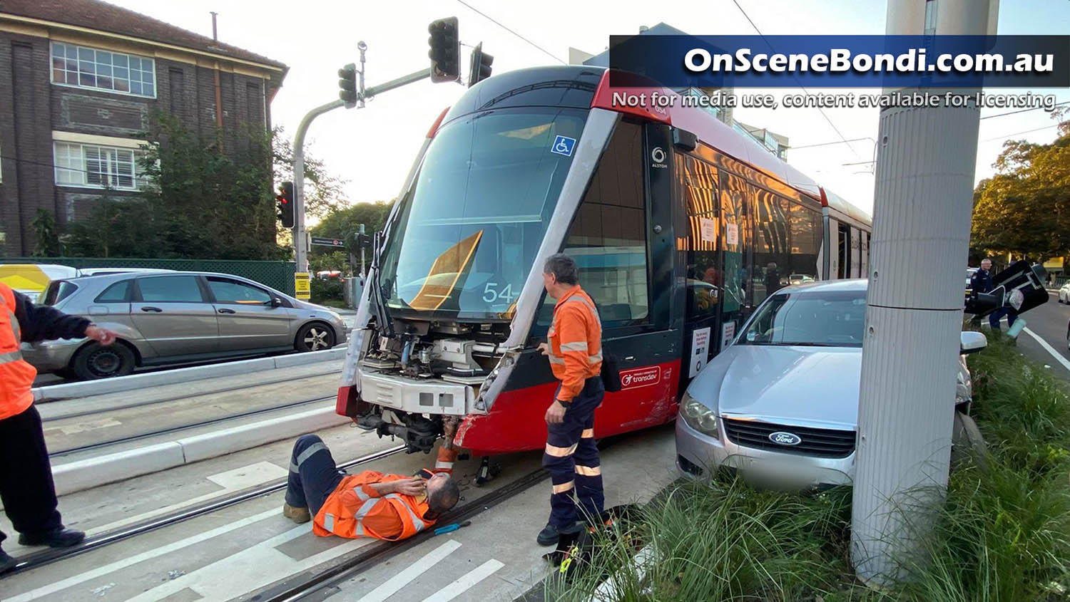 Light rail and car crashes in Kensington